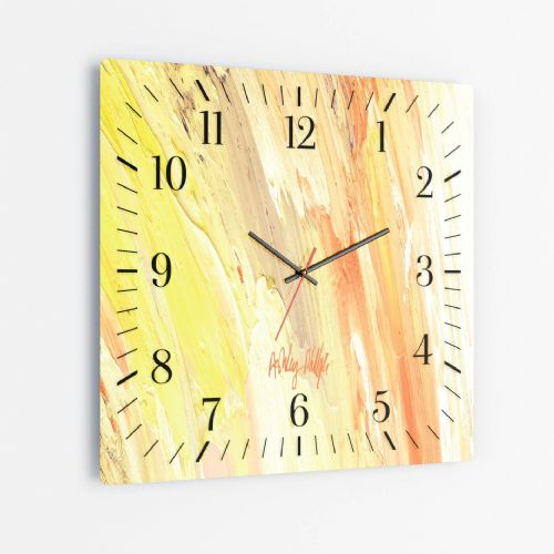 Surging Wave Yellow - Square Glass Clock